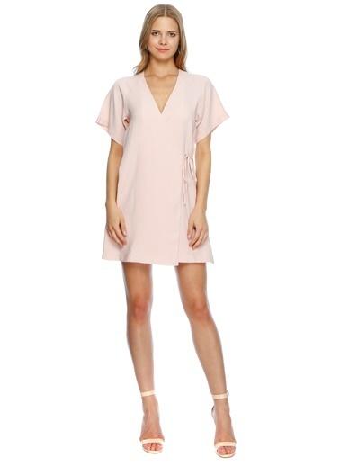 Missguided V Yaka Kısa Kol Mini Elbise Pembe